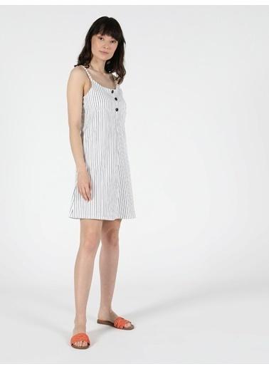 Colin's Regular Fit Kısa Kol Kadın Elbise Beyaz
